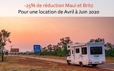 25% de réduction sur les camping-cars Maui et Britz